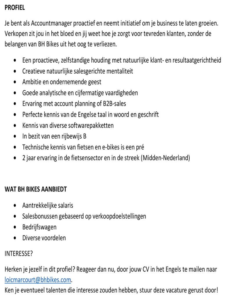Microsoft Word - BH BIKES BENELUX - Offre emploi Commercial mid-
