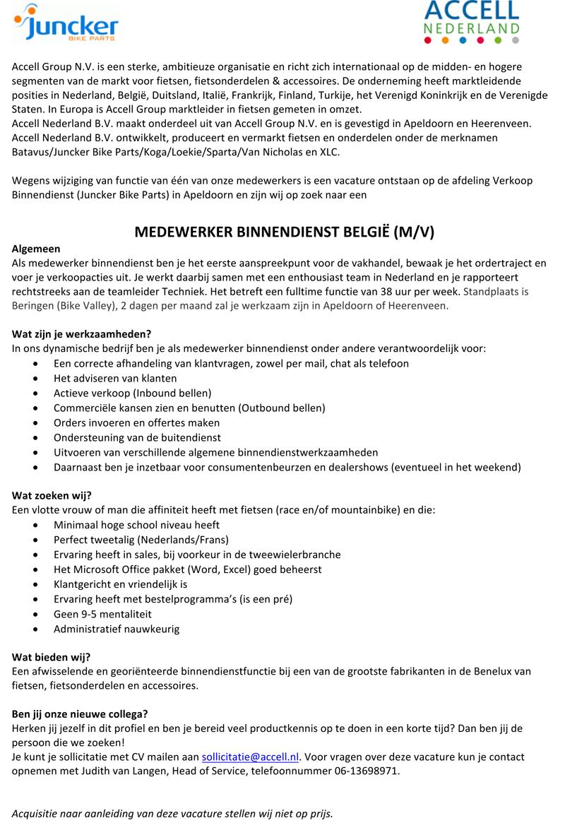 Microsoft Word - Vacaturetekst Medewerker Binnendienst België.d