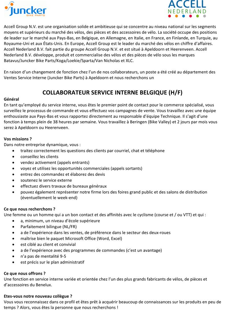 Microsoft Word - Vacaturetekst Medewerker Binnendienst België_F